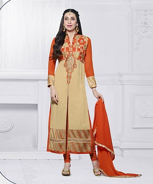 CREAM & ORANGE EMBROIDERED FAUX GEORGETTE STRAIGHT SUIT @ Rs2100.00