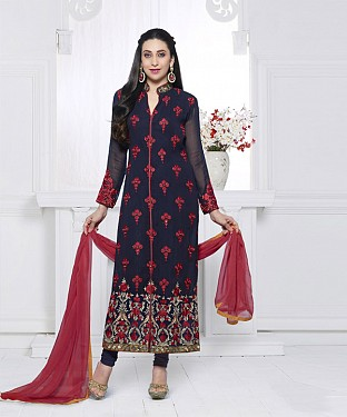 NAVY & RED EMBROIDERED FAUX GEORGETTE STRAIGHT SUIT @ Rs2100.00
