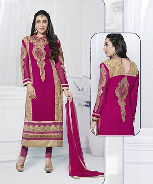 PINK EMBROIDERED FAUX GEORGETTE STRAIGHT SUIT @ Rs2100.00