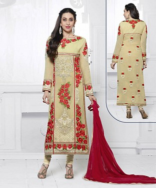 BEIGE & RED EMBROIDERED FAUX GEORGETTE STRAIGHT SUIT @ Rs2100.00