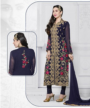 NAVY BLUE EMBROIDERED FAUX GEORGETTE STRAIGHT SUIT @ Rs2100.00