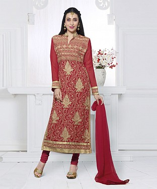 RED EMBROIDERED FAUX GEORGETTE STRAIGHT SUIT @ Rs2100.00