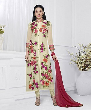 OFF WHITE & RED EMBROIDERED FAUX GEORGETTE STRAIGHT SUIT @ Rs2100.00