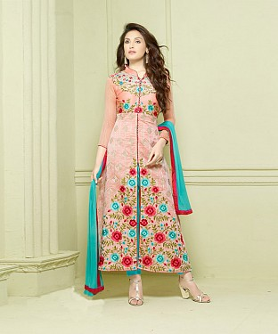 LIGHT PINK AND SKY EMBROIDERED HEAVY CHANDERI STRAIGHT SUIT @ Rs1297.00