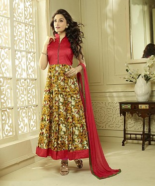 RED AND MULTY PRINTED BHAGALPURI PRINT ANARKALI SUIT @ Rs1606.00