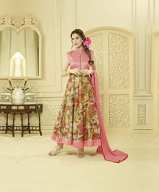LIGHT PINK AND MULTY PRINTED BHAGALPURI PRINT ANARKALI SUIT @ Rs1606.00