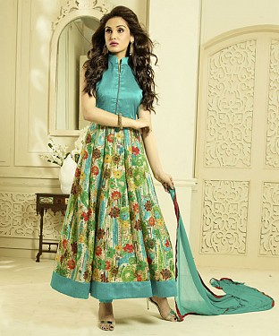 SKY AND MULTY PRINTED BHAGALPURI PRINT ANARKALI SUIT @ Rs1606.00