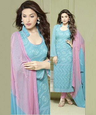 SKY AND PINK EMBROIDERED PURE CHIFFON STRAIGHT SUIT @ Rs1606.00