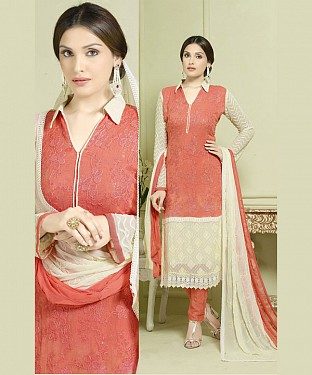 ORANGE AND CREAM EMBROIDERED PURE CHIFFON STRAIGHT SUIT @ Rs1606.00