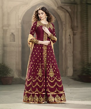 MAROON EMBROIDERED BANGLORI SILK ANARKALI SUIT @ Rs4449.00