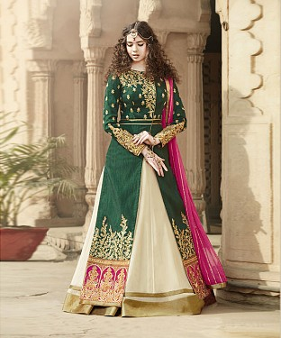 GREEN & CREAM EMBROIDERED BANGLORI SILK ANARKALI SUIT @ Rs4449.00