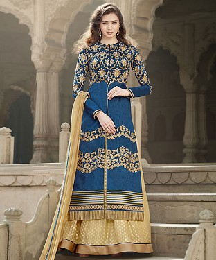 BLUE & CREAM EMBROIDERED BANGLORI SILK STRAIGHT SUIT @ Rs4449.00