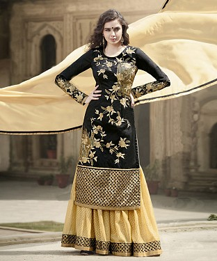 BLACK & CREAM EMBROIDERED BANGLORI SILK STRAIGHT SUIT @ Rs4449.00