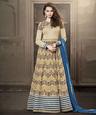 CREAM EMBROIDERED FAUX GEORGETTE ANARKALI SUIT @ Rs4449.00