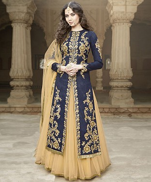 NAVY BLUE & CREAM EMBROIDERED BANGLORI SILK STRAIGHT SUIT@ Rs.4449.00