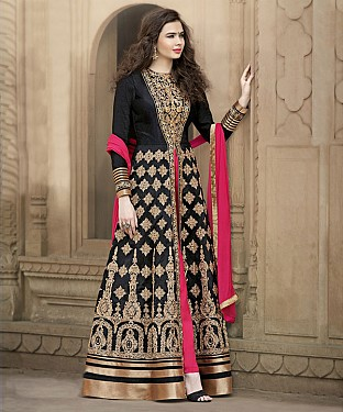 BLACK & PINK EMBROIDERED BANGLORI SILK ANARKALI SUIT @ Rs4449.00