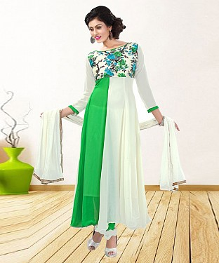 WHITE & GREEN PRINTED GEORGETTE ANARKALI SUIT @ Rs1235.00