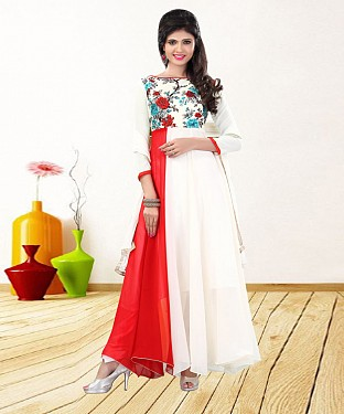 WHITE & RED PRINTED GEORGETTE ANARKALI SUIT@ Rs.1235.00