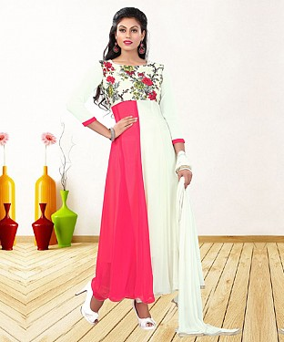 WHITE & PINK PRINTED GEORGETTE ANARKALI SUIT@ Rs.1235.00