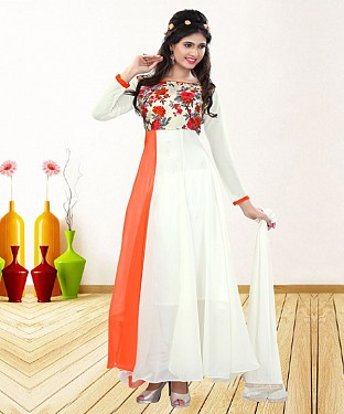 WHITE & ORANGE PRINTED GEORGETTE ANARKALI SUIT@ Rs.1235.00