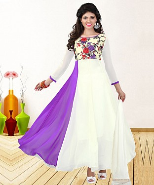 WHITE & PURPLE PRINTED GEORGETTE ANARKALI SUIT @ Rs1235.00