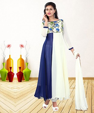 WHITE & NAVY BLUE PRINTED GEORGETTE ANARKALI SUIT @ Rs1235.00