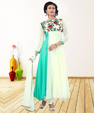 WHITE & AQUA PRINTED GEORGETTE ANARKALI SUIT@ Rs.1235.00