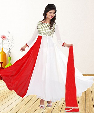 WHITE & RED EMBROIDERED GEORGETTE ANARKALI SUIT@ Rs.1235.00