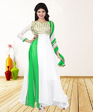 WHITE & GREEN EMBROIDERED GEORGETTE ANARKALI SUIT@ Rs.1235.00