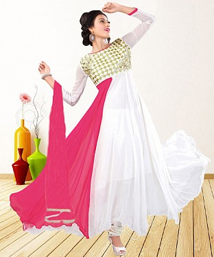 WHITE & PINK EMBROIDERED GEORGETTE ANARKALI SUIT@ Rs.1235.00