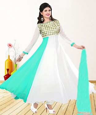WHITE & AQUA EMBROIDERED GEORGETTE ANARKALI SUIT@ Rs.1235.00