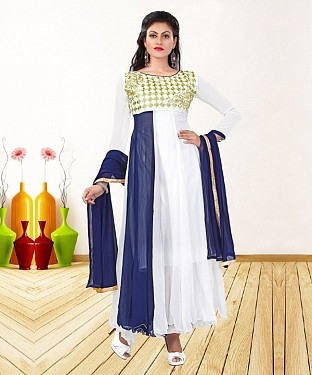 WHITE & NAVY BLUE EMBROIDERED GEORGETTE ANARKALI SUIT@ Rs.1235.00