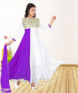 WHITE & PURPLE EMBROIDERED GEORGETTE ANARKALI SUIT@ Rs.1235.00