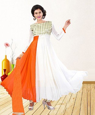 WHITE & ORANGE EMBROIDERED GEORGETTE ANARKALI SUIT@ Rs.1235.00