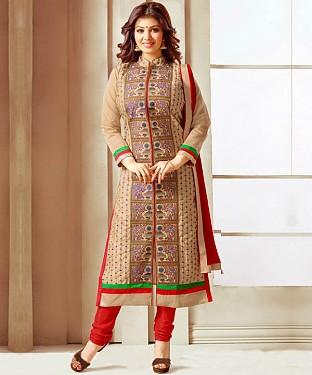 BEIGE & RED EMBROIDERED COTTON STRAIGHT SUIT@ Rs.1235.00