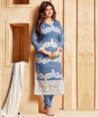 SKY BLUE & WHITE EMBROIDERED COTTON STRAIGHT SUIT Buy Rs.1235.00