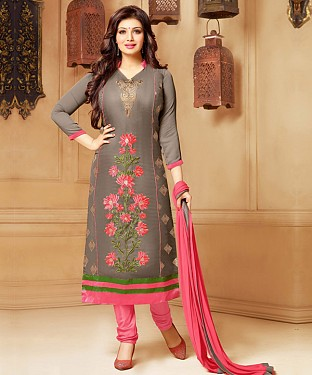 GREY & PINK EMBROIDERED COTTON STRAIGHT SUIT@ Rs.1235.00