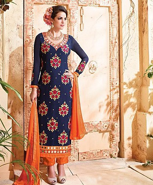 NAVY BLUE & ORANGE EMBROIDERED GEORGETTE STRAIGHT SUIT@ Rs.1915.00