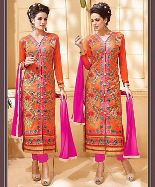 ORANGE & PINK EMBROIDERED GEORGETTE STRAIGHT SUIT @ Rs1915.00