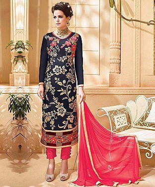 NAVY BLUE & PINK EMBROIDERED GEORGETTE STRAIGHT SUIT @ Rs1915.00
