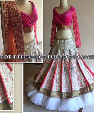 White And Pink Bridal Designer Lehenga@ Rs.3151.00