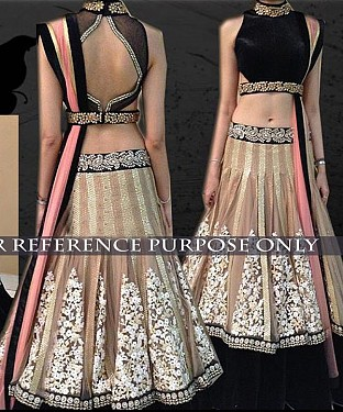 Beige And Black Bridal Designer Lehenga@ Rs.2286.00