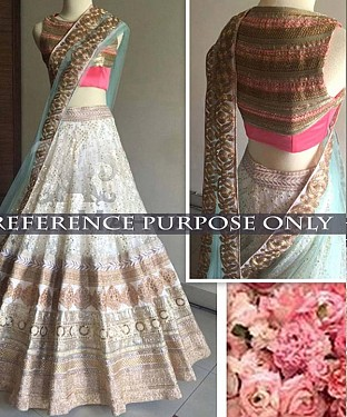 White And Pink Bridal Designer Lehenga @ Rs3027.00