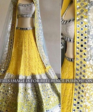 White & Yellow Bridal Designer Lehenga @ Rs3398.00