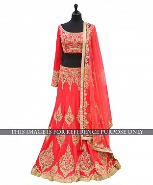 Peach Bridal Designer Lehenga @ Rs2533.00