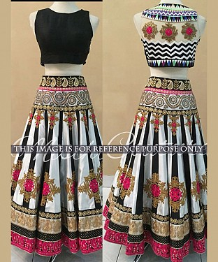 White And Black Bridal Designer Lehenga @ Rs3398.00