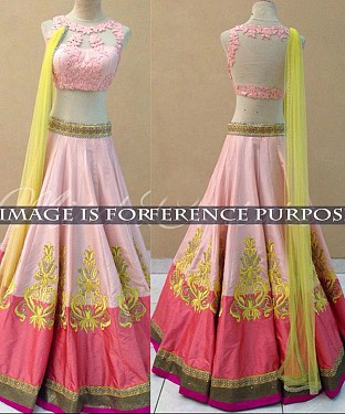 Pink And Yellow Bridal Designer Lehenga @ Rs2471.00