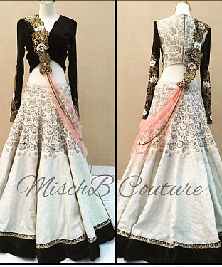 White & Black Bridal Designer Lehenga @ Rs2224.00