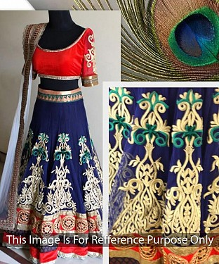 NAVY BLUE AND RED THREDWORK NYLON NET LEHENGA @ Rs2966.00