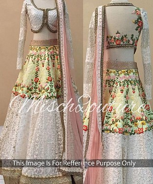 WHITE THREDWORK NYLON NET LEHENGA @ Rs3584.00